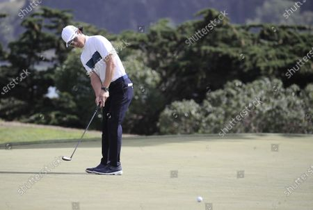 Ryo Ishikawa of Japan putts on the seventeenth hole during the second round of the 2020 PGA Championship golf tournament at TPC Harding Park in San Francisco, California, USA, 07 August 2020. The competition will be played 06 August through 09 August with no fans in attendance.