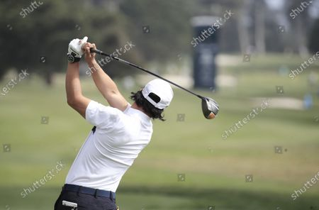 Ryo Ishikawa of Japan hits his tee shot on the first hole during the second round of the 2020 PGA Championship golf tournament at TPC Harding Park in San Francisco, California, USA, 07 August 2020. The competition will be played 06 August through 09 August with no fans in attendance.