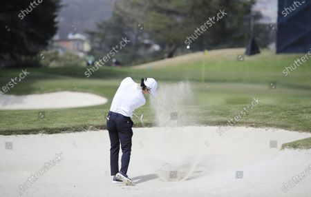 Ryo Ishikawa of Japan htis from a bunker on the eighteenth hole during the second round of the 2020 PGA Championship golf tournament at TPC Harding Park in San Francisco, California, USA, 07 August 2020. The competition will be played 06 August through 09 August with no fans in attendance.