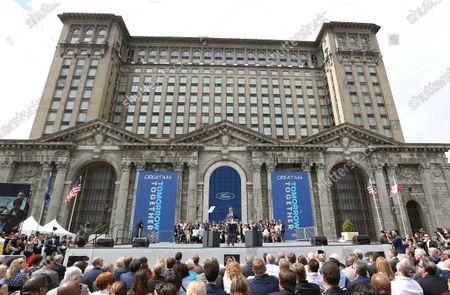 Ford Motor Co., Executive Chairman Bill Ford addresses attendees outside the Michigan Central train depot, in Detroit. Restoration work has continued at the train station following a state-mandated stay-at-home order to stem the spread of the COVID-19 virus. The Detroit Free Press reports that crews are in the middle of Phase Two of the project which involves fixing the street structure and repairing masonry. Ford Motor Co. bought the iconic building just outside downtown in 2018 for research and development of self-driving vehicles. The 105-year-old building that once handled all of Detroit's passenger rail traffic closed in 1988 due to a decline in ridership