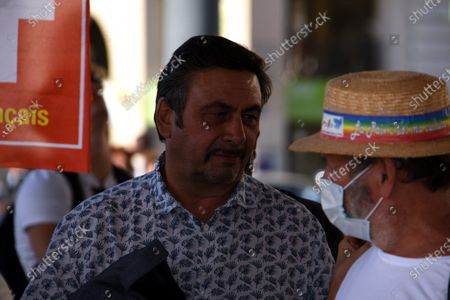 Stock Photo of Jean-Marc Coppola, Deputy Mayor of Marseille, seen during the demonstration. People gathered at the Old Port of Marseille to pay homage to the victims of the bombings on Hiroshima and Nagasaki, as well as to denounce the dangers of this nuclear weaponry.