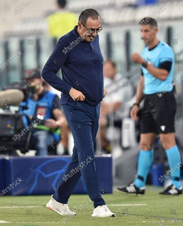 Stock Picture of Juventus coach Maurizio Sarri gestures during the UEFA Champions League round of 16 second leg soccer match Juventus FC vs Olympique Lyon at the Allianz Stadium in Turin, Italy, 07 August 2020.