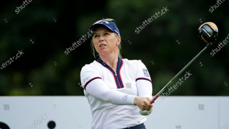 Morgan Pressel follows through on her drive on the seventh hole during the first round of the Marathon Classic LPGA golf tournament, at the Highland Meadows Golf Club in Sylvania, Ohio