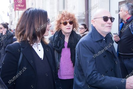 Stock Image of Italian singer Fiorella Mannoia  Funeral of the Italian showman Fabrizio Frizzi, who died in the night between Sunday and Monday at the Sant'Andrea Hospital in Rome
