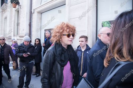 Stock Picture of Italian singer Fiorella Mannoia  Funeral of the Italian showman Fabrizio Frizzi, who died in the night between Sunday and Monday at the Sant'Andrea Hospital in Rome