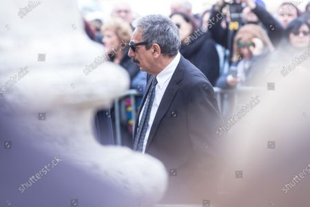 Italian journalist Marino Bartoletti  Funeral of the Italian showman Fabrizio Frizzi, who died in the night between Sunday and Monday at the Sant'Andrea Hospital in Rome