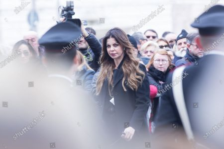 Italian showgirl Alba Parietti  Funeral of the Italian showman Fabrizio Frizzi, who died in the night between Sunday and Monday at the Sant'Andrea Hospital in Rome