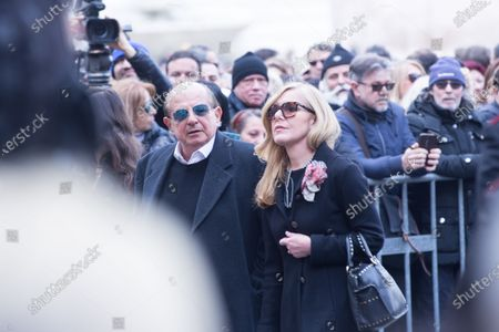 Italian showman Giancarlo Magalli  Funeral of the Italian showman Fabrizio Frizzi, who died in the night between Sunday and Monday at the Sant'Andrea Hospital in Rome