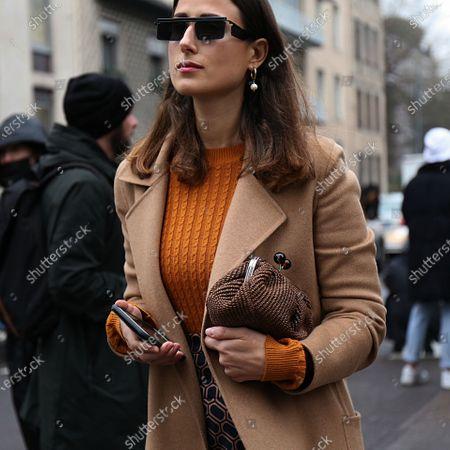 MILAN- 22 February 2018 Julia Haghjoo on the street during the Milan Fashion Week