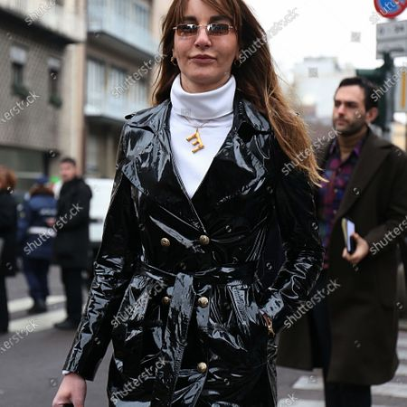 MILAN- 22 February 2018 Ece Sukan on the street during the Milan Fashion Week