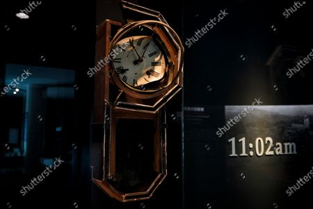 A wall clock with its hands stopped at the time of the detonation of an atomic bomb, 11:02, is displayed at the Nagasaki Atomic Bomb Museum in Nagasaki, southern Japan, 08 August 2020. Nagasaki is preparing to mark the 75th anniversary of the atomic bombing on 09 August as related events are either canceled or scaled down this year to avoid the spreading of the coronavirus and COVID-19 disease pandemic. In 1945 the United States dropped two nuclear bombs over the cities of Hiroshima and Nagasaki on 06 and 09 August respectively, killing more than 200,000 people.