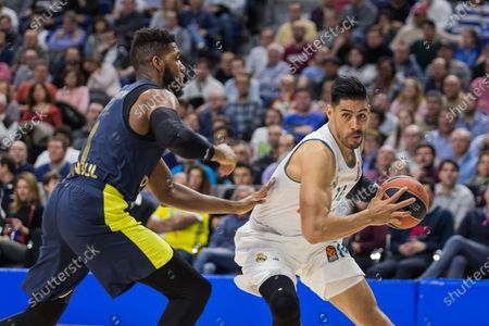 Jason Thompson (L) and Gustavo Ayón (R) during Fenerbahce Dogus Istanbul victory over Real Madrid (83 - 86) in Turkish Airlines Euroleague regular season game (round 24) celebrated at Wizink Center in Madrid (Spain). March 2nd 2018.