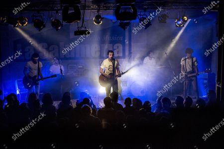 "Singer-songwriter Alberto Bianco sings at the historic Milanese ""salumeria della musica"" for his tour ""Quattro"". (Photo by Pamela Rovaris / Pacific Press)"