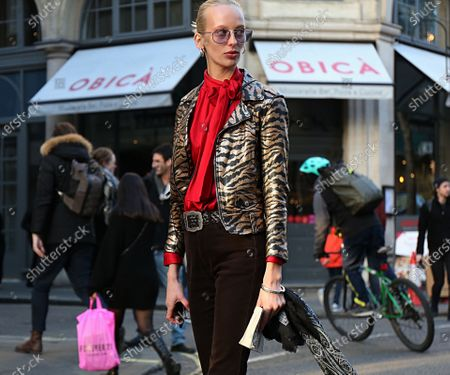 Lili Sumner on the street during the London Fashion Week