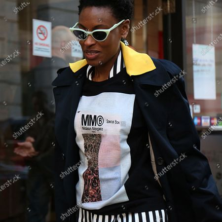 LONDON- 17 February 2018 Donna Wallace on the street during the London Fashion Week
