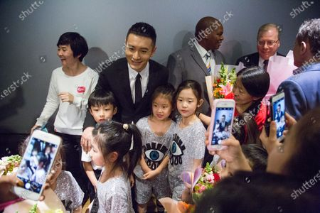 Stock Image of The launch event of 'The Bravest Boy I Know' audio book is held in Beijing, March 6th, 2018, marking the Zero Discrimination Day. Chinese actor Huang Xiaoming attends the event as the goodwill ambassador of UNAIDS.