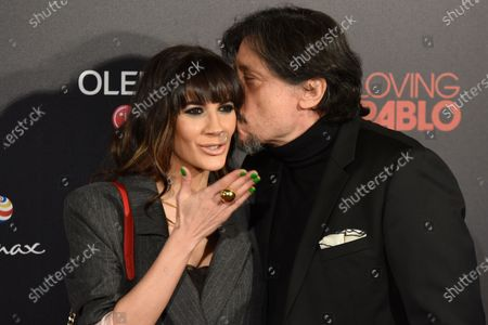 The Spanish actor Carlos Bardem (right), and the Spanish actress Cecilia Gessa pose for media during a photocall for the premiere 'Loving Pablo' at Callao cinema in Madrid.