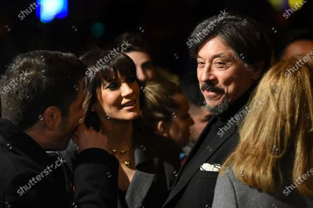 The Spanish actor Carlos Bardem (right), and the Spanish actress Cecilia Gessa pictured during the premiere 'Loving Pablo' at Callao cinema in Madrid.