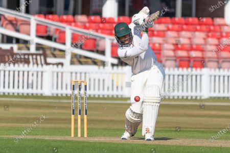 Stock Photo of Chris Wright batting during the Bob Willis Trophy match between Leicestershire County Cricket Club and Derbyshire County Cricket Club at the Fischer County Ground, Grace Road, Leicester