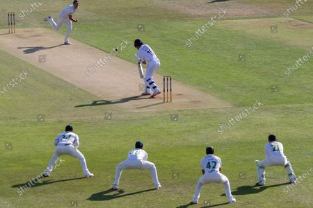 Stock Picture of Chris Wright on the attack the Bob Willis Trophy match between Leicestershire County Cricket Club and Derbyshire County Cricket Club at the Fischer County Ground, Grace Road, Leicester