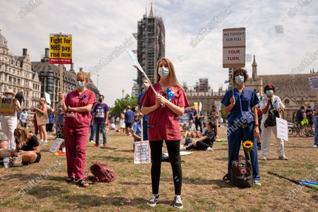 NHS workers take part in a demonstration to call for pay increases after missing out on the latest round of public sector pay rises.
