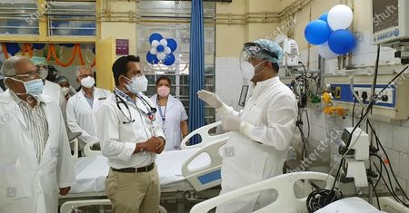Bihar Health Minister Mangal Pandey interacts with medical professionals after inaugurating six ICU beds at Indira Gandhi Institute of Cardiology  at Patna Medical College and Hospita, on August 7, 2020 in Patna, India.
