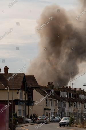 Stock Picture of Fire at a fisheries warehouse at the Port of Newhaven. Houses and industrial units have been evacuated dueto toxic fumes. Newhaven ,East Sussex, Brighton