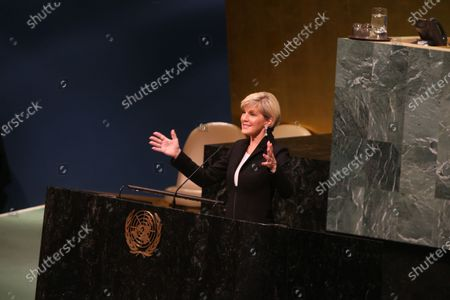 Australian foreign minister Julie Bishop. International Women's Day 2018 was observed at the United Nations with a series of talks starting with UN Secretary-General Antonio Guterres and moderated by WABC newscast Sade Baderinwa. Highlights included Australian foreign minister Julie Bishop & activist Monica Ramirez, President of Alizana Nacional de Campesinas.