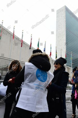 Getting visitors organized outside UN International Women's Day 2018 was observed at the United Nations with a series of talks starting with UN Secretary-General Antonio Guterres and moderated by WABC newscast Sade Baderinwa. Highlights included Australian foreign minister Julie Bishop & activist Monica Ramirez, President of Alizana Nacional de Campesinas.