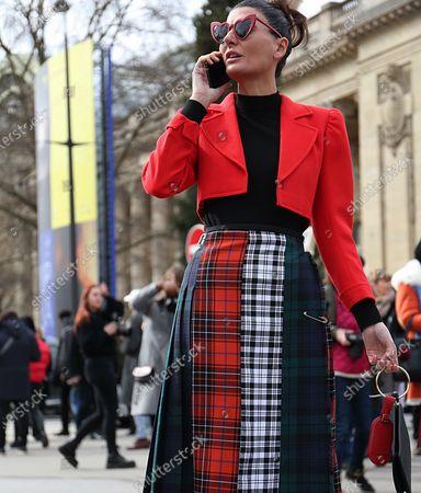PARIS- 06 March 2018 Giovanna Battaglia Engelbert on the street before the Chanel show during the Paris Fashion Week