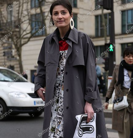 PARIS- 06 March 2018 Irina Linovich on the street before the Miu Miu show during the Paris Fashion Week