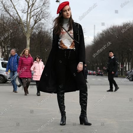 Model Greta Varlese after the Chanel show