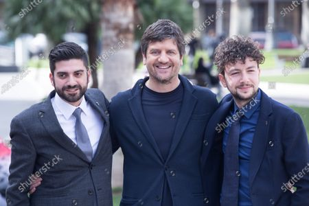 "Italian actor Fabio De Luigi with movie directors  Photocall of the Italian movie ""Metti la Nonna in Freezer"", directed by Giancarlo Fontana and Giuseppe G. Stasi"