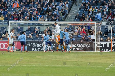 Daniel Steres (5) of LA Galaxy kicks ball during regular MLS game against NYC FC at Yankee stadium NYC FC won 2 - 1