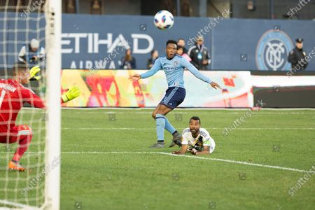 Rodney Wallace (23) of NYC FC shoots ball at goal during regular MLS game against LA Galaxy at Yankee stadium NYC FC won 2 - 1