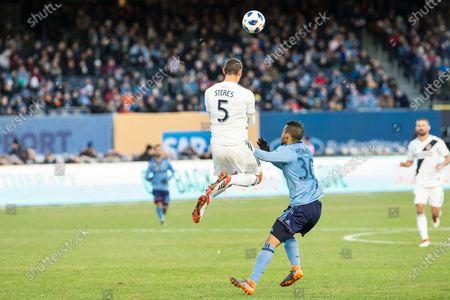 Daniel Steres (5) of LA Galaxy controls ball during regular MLS game against NYC FC at Yankee stadium NYC FC won 2 - 1