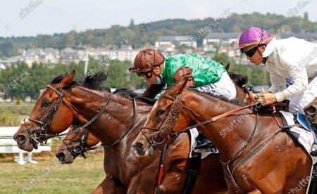SAN REMO (Mickael Barzalona) beats HONOR BERE (right, Maxime Guyon) in the Prix De Cosqueville Deauville