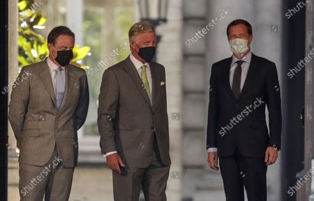 Belgium Negotiators for the formation of federal government, Bart De Wever (L), the Leaders New Flemish Alliance (Nieuw-Vlaamse Alliantie, N-VA) party and Leader of the Socialist Party (PS) Paul Magnette (R) are welcome by King Philippe of Belgium ahead of their meeting at the Royal Palace in Brussels, Belgium, 08 August 2020. The meeting takes place for the formation of a new government. Belgium is gripped in longest political crisis in history of the country with 596 days without formal Government. The last formal government led by prime minister Charles Michel was falling on 21 December 2018.