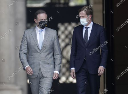 Belgium Negotiators for the formation of federal government, Bart De Wever (L), the Leader of New Flemish Alliance (Nieuw-Vlaamse Alliantie, N-VA) party and Leader of the Socialist Party (PS) Paul Magnette (R) after a meeting with King Philippe of Belgium at the Royal Palace in Brussels, Belgium, 08 August 2020. The meeting takes place for the formation of a new government. Belgium is gripped in longest political crisis in history of the country with 596 days without formal Government. The last formal government led by prime minister Charles Michel was falling on 21 December 2018.