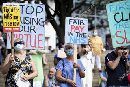 Stock Photo of Protesters for NHS pay in Castle Square, Swansea