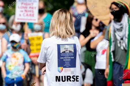 Stock Image of Protesters for NHS pay in Castle Square, Swansea