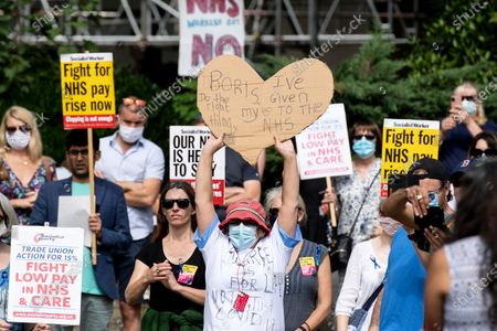 Editorial image of Protests for NHS pay take place in Castle Square, Swansea, Wales, UK - 08 Aug 2020