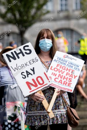 Editorial picture of Protests for NHS pay take place in Castle Square, Swansea, Wales, UK - 08 Aug 2020