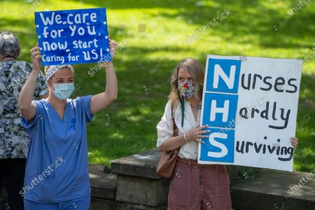 Protesters for NHS pay in Castle Square, Swansea