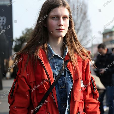 Stock Photo of MILAN- 21 February 2018 Tessa Bruinsma on the street after the Gucci show during the Milan Fashion Week
