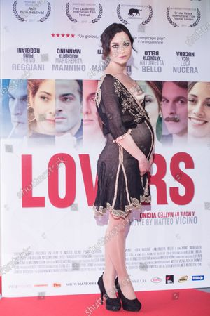 """Stock Photo of Italian actress Carlotta Tesconi  Premiere of the Italian movie """"Lovers""""directed by Matteo Vicino at The Space Cinema Moderno in Rome"""