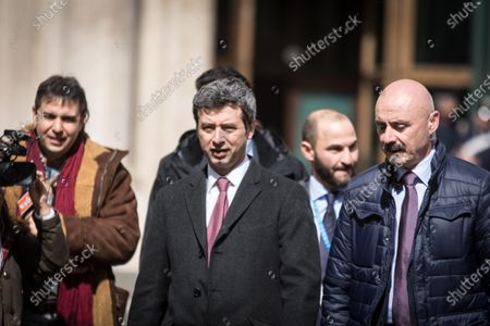 ROME, ITALY - MARCH 14:Andrea Orlando ( Ci) an Italian politician of the Democratic Party (PD), Minister of Justice since February 22,2014 in the governments Matteo Renzi and Paolo Gentiloni Italian politicians near the parliamentary groups after the elections of 4 March 2018 in Piazza Montecitorio  on March 14, 2018 in Rome, Italy