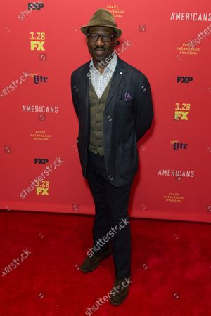 Stock Picture of Russell G Jones attends FX The Americans season 6 premiere at Alice Tully Hall Lincoln Center