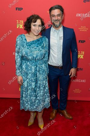 Stock Image of Daria Ekamasova and Konstantin Lavysh attend FX The Americans season 6 premiere at Alice Tully Hall Lincoln Center