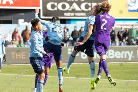 Jonathan Spector (2) of Orlando City SC and Maxime Chanot (4) of NYC FC collided during regular MLS game at Yankee stadium NYC FC won 2 - 0